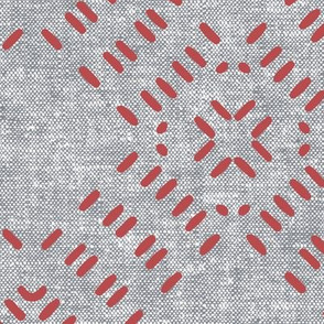 modern farmhouse tile LARGE scale (grey & red)