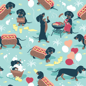 Hot dogs and lemonade // normal scale // aqua background cute Dachshund sausage dogs