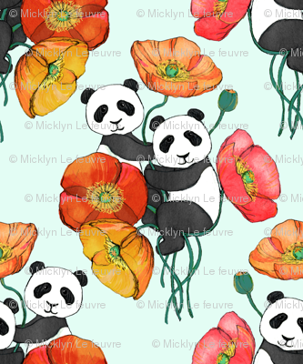 Poppies and Pandas on Mint - small