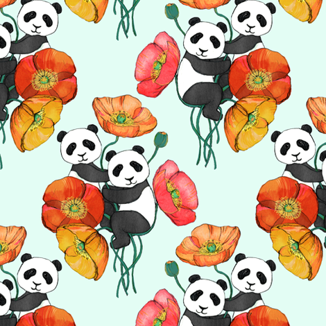 Poppies and Pandas on Mint - small fabric by micklyn on Spoonflower - custom fabric
