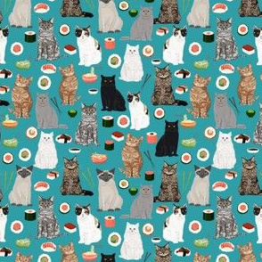 cat sushi teal (very small size) fabric cute kawaii fabrics