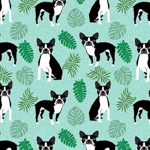 boston terrier monstera dog breed pet fabric blue