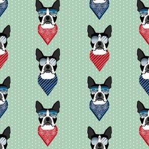 boston terrier sunglasses summer bandana dog breed fabric mint