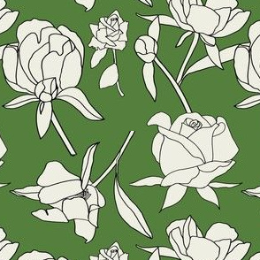 Roses in Green and Cream, larger print