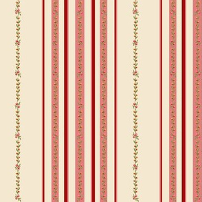 loads of pink  stripes on deep red