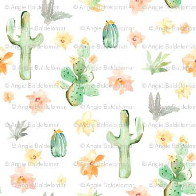 Arizona Cactus on White
