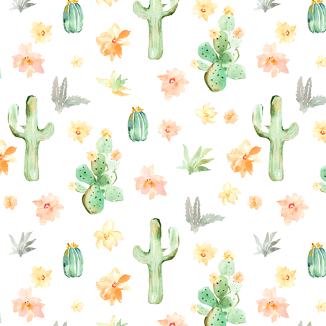 Arizona Cactus on White fabric by angiemakes on Spoonflower - custom fabric