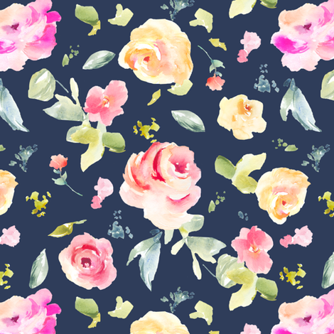 Callie Navy Blue Florals fabric by angiemakes on Spoonflower - custom fabric