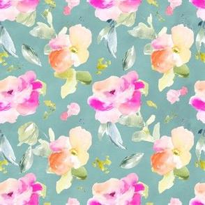 Callie Watercolor Florals on Blue