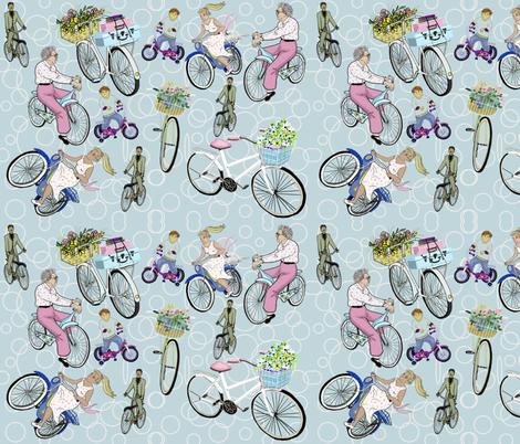 Bycyling through the generations fabric by salzanos on Spoonflower - custom fabric