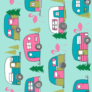 vintage camper (rotated)// mint and pink vintage campervan fabric cute retro flamingo pattern print andrea lauren design