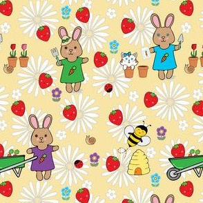 busy bunny strawberry patch and garden