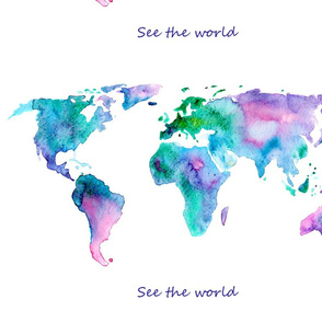 """See the world"" map centered on fat quarter"