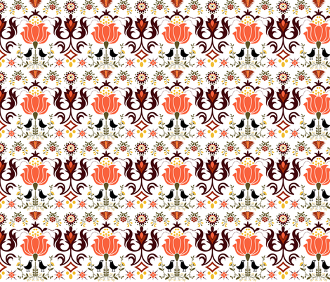Autumn Raven (White) fabric by inkysunshine on Spoonflower - custom fabric