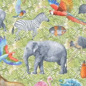 """Safari Animals on Leaves 12"""""""