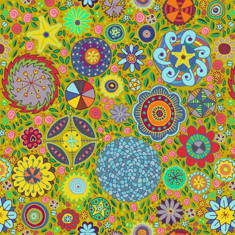 millefiori garden olive oil fabric by farreystudio on Spoonflower - custom fabric