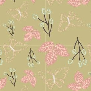gold pink butterfly and leaves