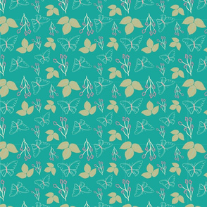 gold teal butterfly and leaves