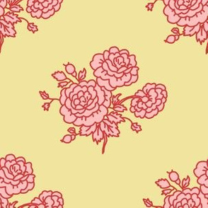chintz - yellow and pink