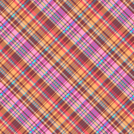 Golden Brown Red Pink Madras Plaid fabric by eclectic_house on Spoonflower - custom fabric