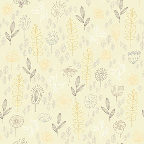 Yellow Green Pastel Whimsical Garden