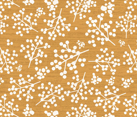 Farmhouse Twigs - Yellow Ochre fabric by sarah_treu on Spoonflower - custom fabric