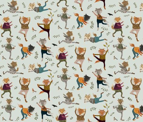 park life fox yoga fabric by katherine_quinn on Spoonflower - custom fabric