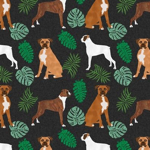 boxer monstera tropical dog breed fabric dark