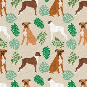 boxer monstera tropical dog breed fabric tan