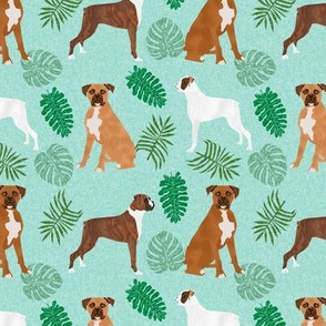 boxer monstera tropical dog breed fabric green