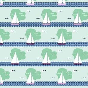 Regatta* (Cola Bottle) || sailboat boat bird ocean sea waves cloud sky stripes sun