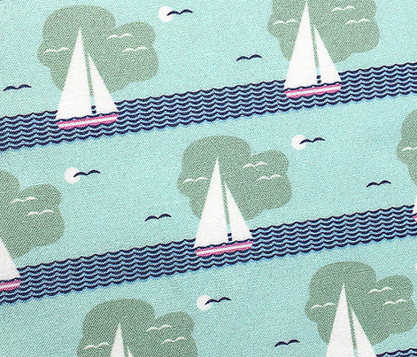 Regatta* (Polymer) || sailboat boat bird ocean sea waves cloud sky stripes sun