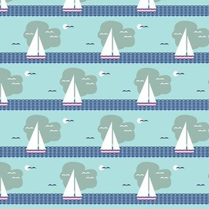 Regatta* (Polymer) || sailboat boat bird ocean sea waves cloud sky stripes sun