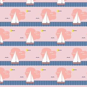 Regatta* (Capote) || sailboat boat bird ocean sea waves cloud sky stripes sun