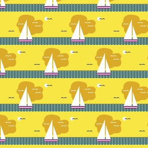 Regatta* (Diamond Dust) || sailboat boat bird ocean sea waves cloud sky stripes sun