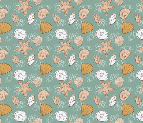 Beachcomber Seashells Green  fabric by kellie_jayne_ on Spoonflower - custom fabric