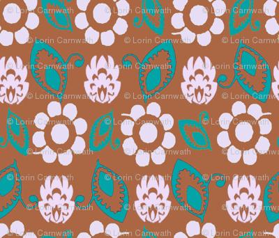 Practical flowers brown white turq