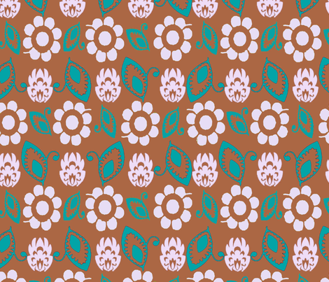 Practical flowers brown white turq fabric by lorloves_design on Spoonflower - custom fabric
