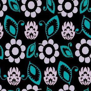 Practical flowers black white turq