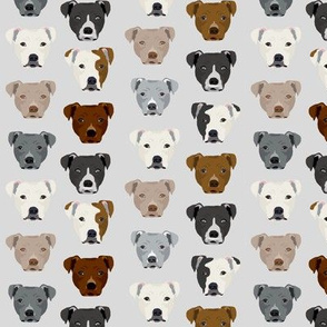 pitbull heads (smaller) fabric pitbull terrier dog fabrics - light grey