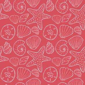 Seashells and Starfish Red