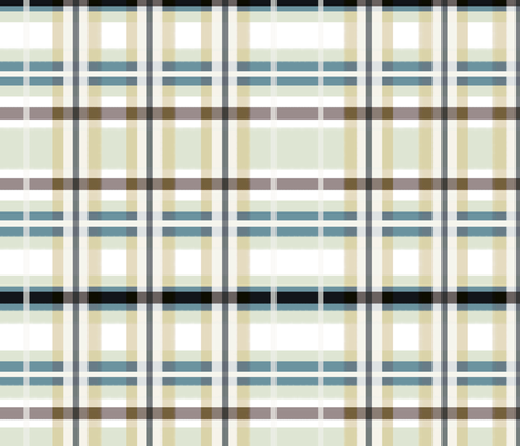 Plaid in Tan, Blue, Green & White fabric by lauriekentdesigns on Spoonflower - custom fabric