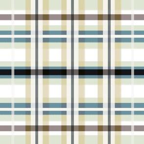 Plaid in Tan, Blue, Green & White