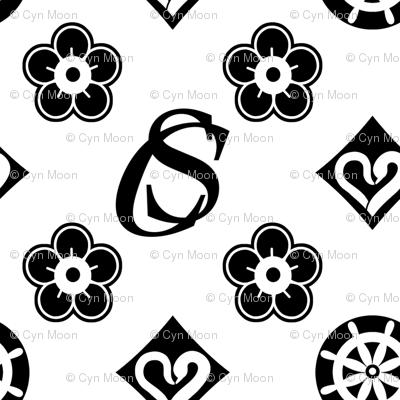 Captain Swan Monogram - Black and White