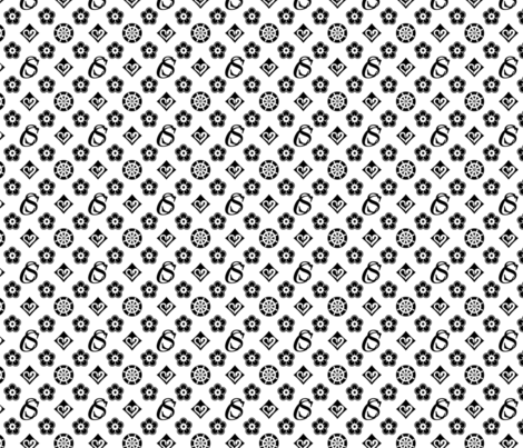 Captain Swan Monogram - Black and White fabric by cynmoon on Spoonflower - custom fabric