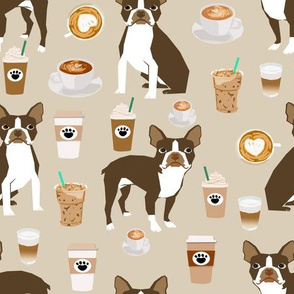 brown boston terrier dog fabric - dog and coffee fabric
