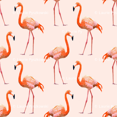 Flamingos on Pink Watercolor