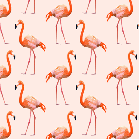 Flamingos on Pink Watercolor fabric by lauriekentdesigns on Spoonflower - custom fabric