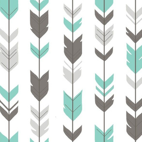 Arrow Feathers- light teal and grey on white
