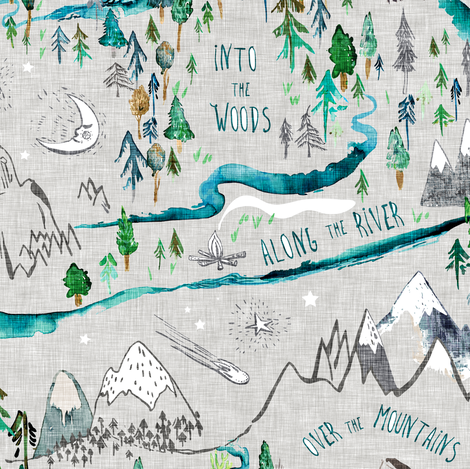 Let's Go Adventuring (stone)  fabric by nouveau_bohemian on Spoonflower - custom fabric